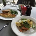 whitebait omelette and salmon eggs benedict