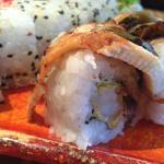California maki with tempura prawn on the inside and eel on the outside - yummy!