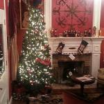 Beautiful Christmas tree and fireplace