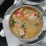 Bacalhau with shripms and rice