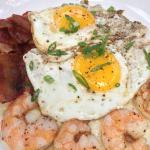 Shrimp, cheese grits, bacon and egg