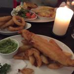 Jumbo fish and chips with onion rings and mushy peas and Lasagne with salad and garlic bread :-)