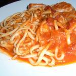 SPAGHETTI - 21 dollars: shrimp, scallops, calamari, cod, white wine & pomodoro sauce