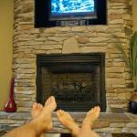 nice fireplace and TV