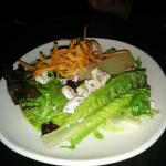 greens, candied pecans, sundried cranberries, blue cheese, sherry shallot vinaigrette