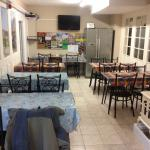 Eating area. Plenty of room at this hostel. Cleanest kitchen ever!