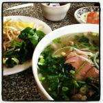 Pho with additions - basil, bamboo shoots, chilis