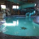 The indoor pool and waterslide