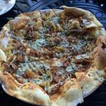 Duck confit flatbread with fig preserve, caramelized onions & gorgonzola cheese