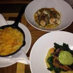 Speckled Trout, shrimp and grits, and some delicious Mac n' cheese.