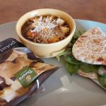 French onion soup and turkey flatbread sandwich