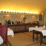 The attractive breakfast room and buffet servery