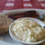 Eggs, Cajun Sausage, Grits & English Muffin