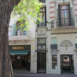 The hotel entrance seen from the Plaza Dorrego