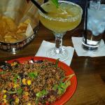 Quinoa Salad and house margarita done Cadillac