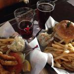 Perch lunch special & double cheeseburger lunch with Atwater Winter Ale