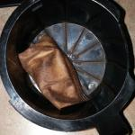 dried coffee filter in coffee pot