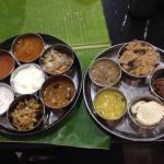 Accompaniments for the elaborate meal at Junior Kuppanna Coimbatore.