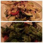 Greek salad on top, mesclun salad on bottom