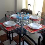 Dining table with ceramic items