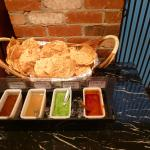 The papadam with different dips