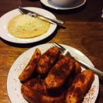 Fried banana with palm sugar and cheese pancake