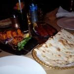 Our Dinner. Grilled Cheese in skewer, meat kabab, nan bread and lemon juice