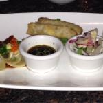 "Appetizer sampler for 2.  I would just get the ribs or gyoza next time.  The rest was ""good"", bu"
