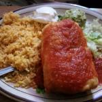"My daughter's ""steak & chicken"" Chimichanga.  All the Chimi's are good and the restaurant is a v"