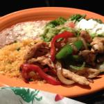 Beef Fajitas, Refried Beans and Rice