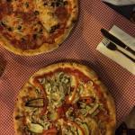 Calabreza and vegetarian pizza