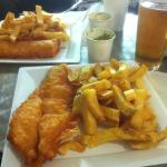 Fish and Chips, peas and beer on the side