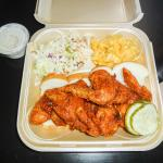 Hot Wings Meal includes Mac 'n Cheese and Cole Slaw - and free Sweet Tea and Ranch Dressing
