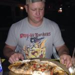 Mushroom, artichoke, pepperoni, and sausage calzone...and we ate all of it...so good.