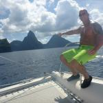 View of the Pitons from the catamaran
