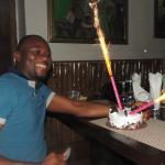 Celebrant and his birthday cake