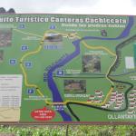 Ollantaytambo walking cicuit showing location of Inca Bridge (Puente Inka)