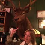 The stuffed elk at the bar.