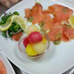 a trio of melon and dressed smoked salmon