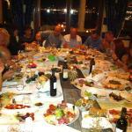 Enjoying food and wine