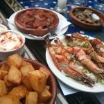 Grilled prawns and other delicious food