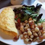 Duck sausage omlette plate