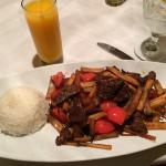 Lomo Saltado and to drink, a Maracuya...Delicious!