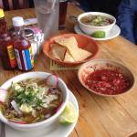 Pozole, chips, salsa