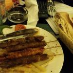 room service dinner of grilled meat sampler