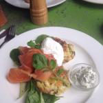 Salmon, poached eggs and potato. Greek yougourt with dill