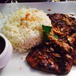 blanc de poulet et riz basmati - excellent indonesian peanut sauce