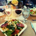 Salads and wine.