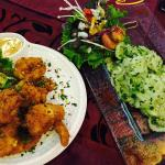 Shrimp starters & Cucumber Salad with Parsley