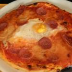 Pizza with Spicy local Salami and Egg